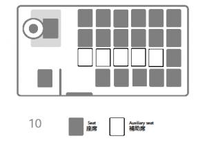 座席表:三菱ローザ 10